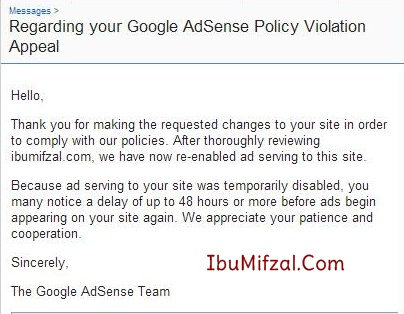 adsense was blocked