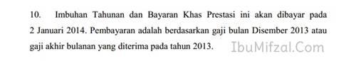 tarikh bayaran bonus kakitangan awam 2013